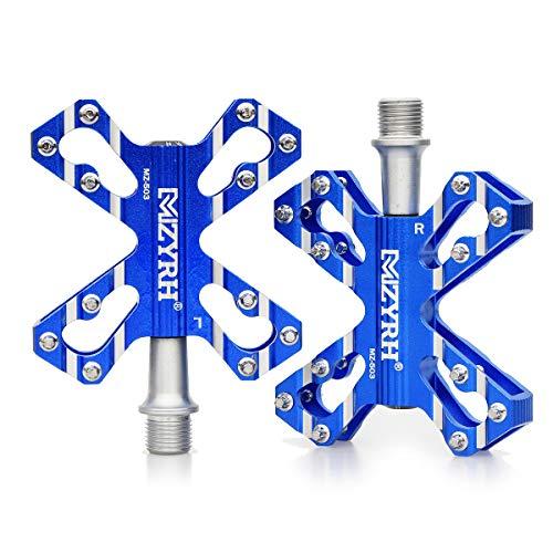 ThinkTop 3 Bearing Ultralight MTB Road Mountain Bike Platform Pedals Flat Aluminum Sealed Ever Lubricate Bearing Axle 9/16,Blue