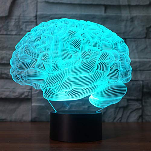 Gifts for Kids Brain 3D Illusion Lamp Night Light YKL WORLD LED Touch 7 Color Changing Brain USB Acrylic Table Lamp Bed Room Decor Birthday Gift Toys for Boys Girls