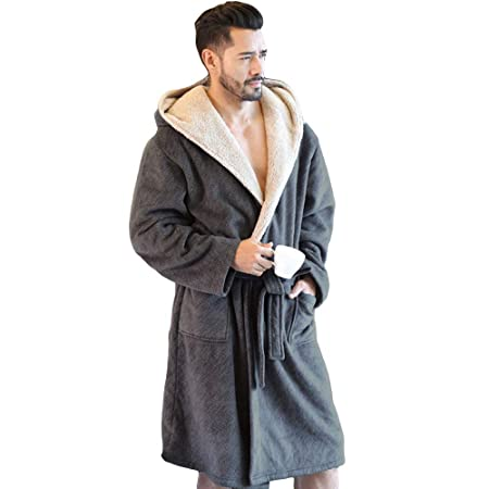 17e318f453c MERRYHE Mens Coral Velvet Nightwear Housecoat Thick Hooded Waffle Bath  Dressing Gown Spa Hotel Gym Shower Pool Luxury Kimono  Nightdress