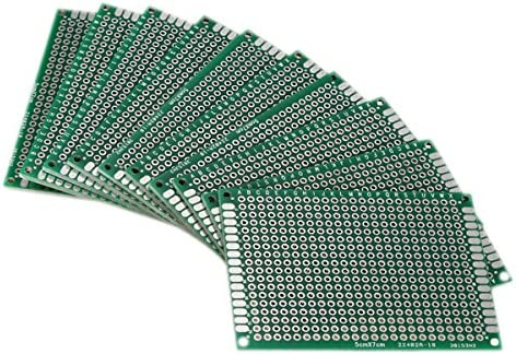 R 10pcs Tablero lateral doble 5x7cm PCB Gaza circuito impreso Prototype Track SODIAL
