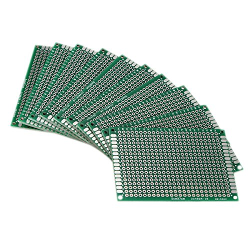 SODIAL(R) 10pcs Double Side 5x7cm PCB Strip board Printed Circuit Prototype Track NAIMRKYUBH439