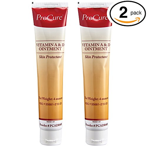Vitamin A and D Ointment, 2 Pack 4 Oz Tube - Diaper Rash Cream, Adult Skin Protectant- Lanolin and Petrolatum Formula, Seals in Wetness - Treats and Prevents Cuts, Dry Or Chaffed Skin ()
