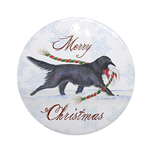 (Louis Flat-Coated Retriever Ceramic Ornament 3 inch Round Holiday Christmas Ornament)
