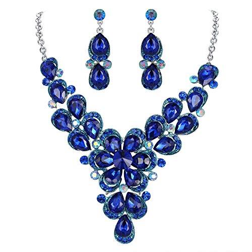 (BriLove Wedding Bridal Necklace Earrings Jewelry Set for Women Crystal Enamel Teardrop Shape Petal Flower Statement Necklace Dangle Earrings Set Royal Blue)