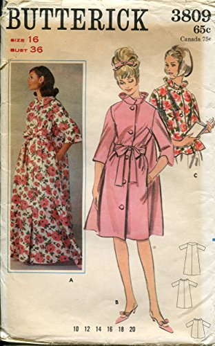 1960s Butterick Pattern 3809 Misses' Robe in Two Lengths or Bed-Jacket, Vintage Size 16 (Bust 36)