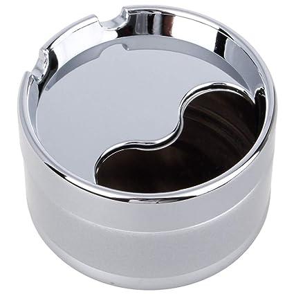 HPCZZ Universal Portátil Cigar Metal Cenicero Rotación Cubierta Totalmente Cerrado Metálico Escritorio De Limpieza Extraíble Smokeless