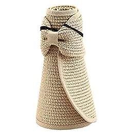 Livecity Women's Summer Wide Brim Roll Up Foldable Sun Beach Straw Braid Visor Sun Hat 4pcs