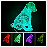 Newest 3D Dog Animal Night Light Desk Optical Illusion Lamps 7 Color Changing Lights LED Table Lamp Xmas Home Love Brithday Children Kids Decor Toy Gift