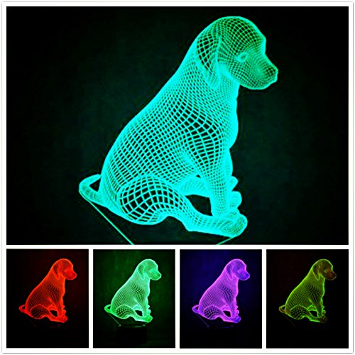 Newest 3D Dog Animal Night Light Desk Optical Illusion Lamps 7 Color Changing Lights LED Table Lamp Xmas Home Love Brithday Children Kids Decor Toy Gift by MOLLY HIESON