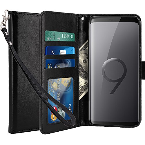 LK Galaxy S9 Plus Case, [Wrist Strap] Luxury PU Leather Wallet Flip Protective Case Cover with Card Slots and Stand for Samsung Galaxy S9 Plus (Black)