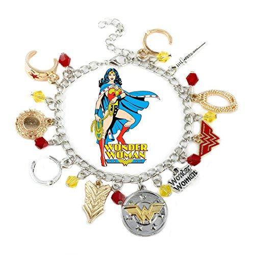 Wonder Woman Silvertone/Goldtone Metal 10 Charm Bracelet