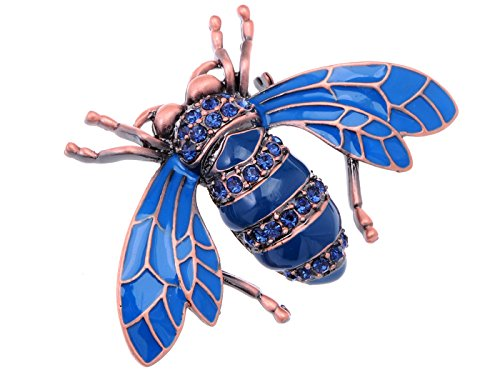 Alilang Rose Copper Tone Sapphire Blue Colored Rhinestones Beetle Bee Brooch Pin