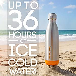 Thermo Tank Insulated Stainless Steel Water Bottle - Ice Cold 36 Hours! Vacuum + Copper Technology - 17 Ounce (Orange + Steel, 17oz)