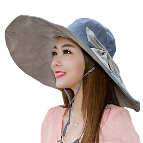 - Fishing Beach Cap Summer Sun Hat Wide Brim Reversible for Women Foldable UPF 50+