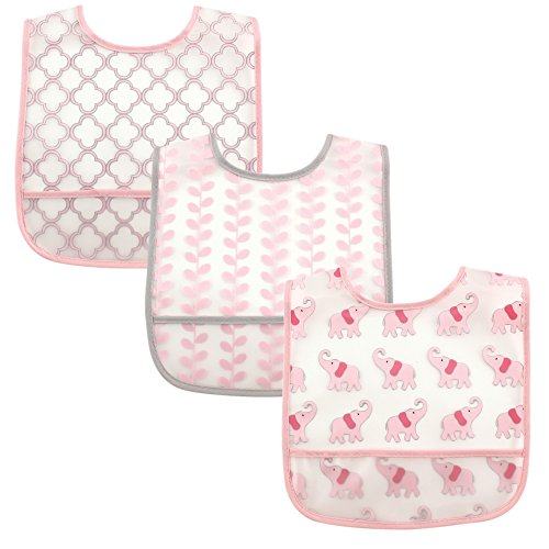 (Luvable Friends 3 Piece Waterproof Bibs with Crumb Catcher, Pink Elephant )