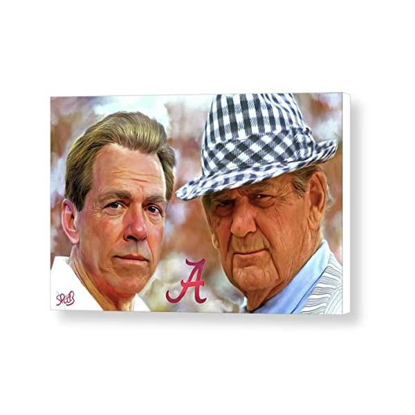 Mark Spears Signed Nick Saban and Bear Bryant 24×36 Gallery Wrapped Canvas Print University of Alabama Football College Football