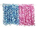 PARTYMASTER Hawaiian Pink And Blue Pearl Luau Flower Leis Necklaces for Tropical Island Beach Theme Party Event,Set of 30