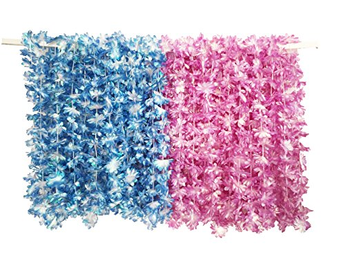 PARTYMASTER Hawaiian Pink and Blue Pearl Luau Flower Leis Necklaces for Tropical Island Beach Theme Party Event,Set of -