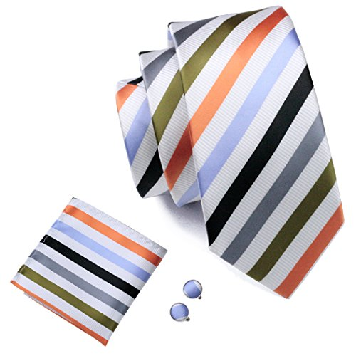 Barry.Wang Colored Mens Ties Stripe Tie Handkerchief Cufflinks Set Wedding Tie