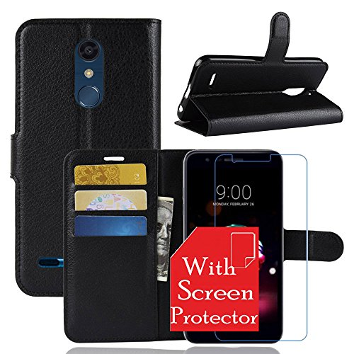 LG K30/LG K10 2018 Case With Tempered Glass Screen Protector, [LuckQR] PU Leather Wallet Case, Magnetic Clasp Closure Protective Phone Cover Case For LG K30/LG K10 2018 - Black
