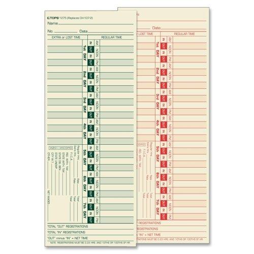 Wholesale CASE of 10 - Tops Bi-Weekly Time Clock Cards-Time Clock Cards, Bi-Weekly, Two-Sides, 3-1/2''x9'',500/BX