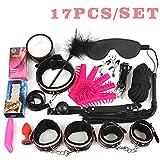 17Pcs /Set BDSM Bondage Set Leather Fetish Women Sex Bondage Toys Nipple Clamps Ball Gag Handcuffs Adult Sex Products 17Pcs