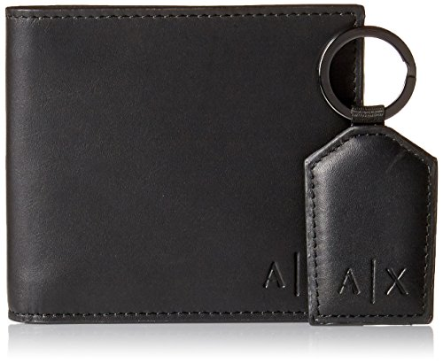 Armani Exchange Men's Wallet and Keychain Boxed Gift Set, black, One - Man Armani For
