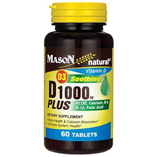Mason Vitamins D 1000 IU Plus Aloe/Calcium/B6/B12/Folic Acid Tablets, 60 Count