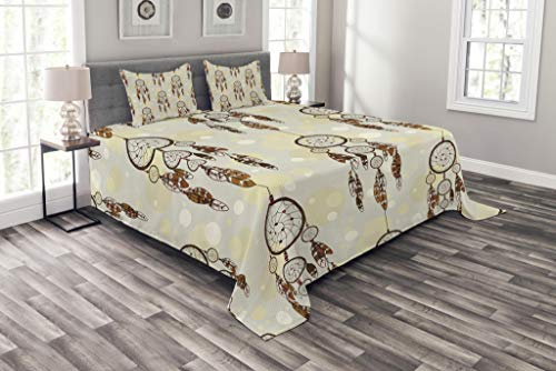 Lunarable Native American Bedspread Set King Size, Illustration of Tribal Style Boho Dreamcatchers in Retro Folk Art, Decorative Quilted 3 Piece Coverlet Set with 2 Pillow Shams, Cream and Chocolate by Lunarable (Image #3)