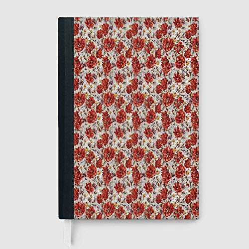 - Composition Book/Notebook,House Decor,Blooming Poppies Ladybird Bumblebee Bee and Butterflies Summer Joyful Art,96 Ruled Sheets,A5/8.24x5.73 in