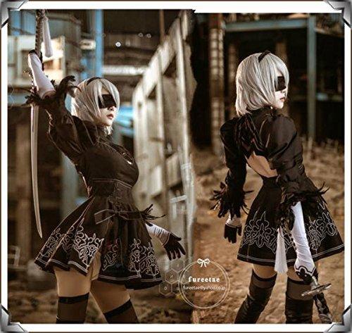 コスプレ衣装 NieR:Automata ニーア オートマタ 2B ヨルハ二号B型風  2B+ ウイッグ +靴 セット女性S.M.L.