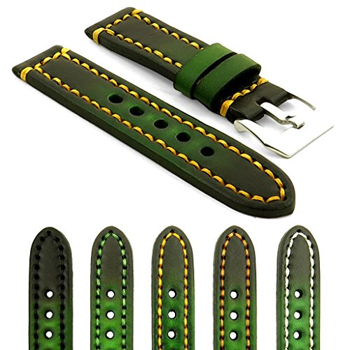 StrapsCo Vintage Thick Leather Watch Band with Heavy Duty Stitching