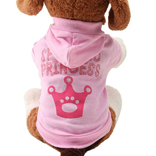 Sumen New Pink Pet Dog Clothes Crown Pattern Hooded Cotton T Shirt (L, Pink)