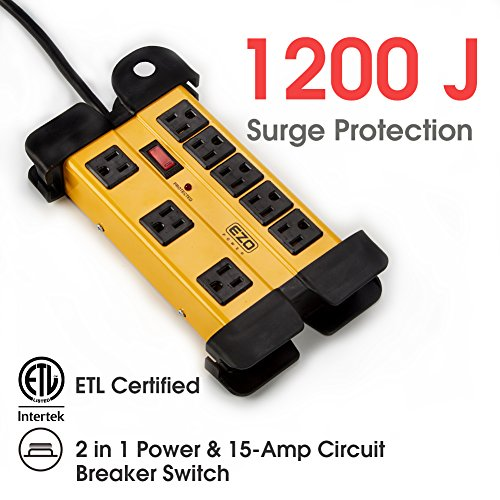 EZOPower 8 Outlet Industrial Safety Heavy-Duty Metal Housing Surge Protector Power Strip With Cord Management - 15ft by EZOPower (Image #5)
