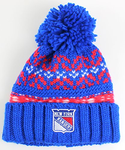 NHL American Needle Gusto Cuffed Pom Beanie Knit Hat (New York Rangers)