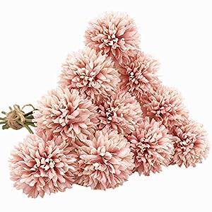 SHINE-CO LIGHTING Artificial Chrysanthemum Ball Flowers Bouquet 10pcs, Light Pink