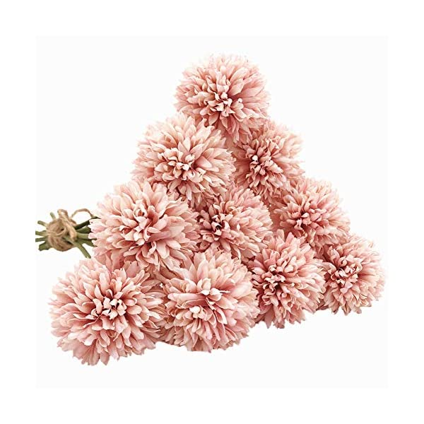 SHINE-CO LIGHTING Artificial Chrysanthemum Ball Flowers Bouquet 10pcs, Light Pink