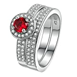 Purmy Women Ring White Gold Plated Red Cubic Zirconia Set of Rings Hearts and Arrows Zircon Full Zircon Size L 1/2