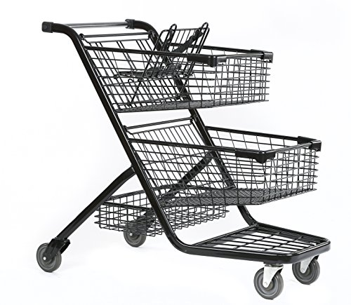 Advance Carts 300xls-Black-3pack XL Series Shopping Cart, 240 L, Black Powder Coat (Pack of 3) by Advance Carts