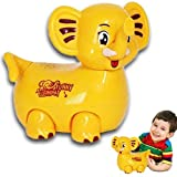 Electric Self Walking Toy Elephant with Bump and Go Action, Flashing Lights & Music - Bright Yellow - by Dazzling Toys