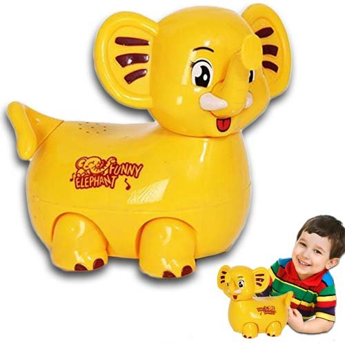 Electric Self Walking Toy Elephant with Bump and Go Action, Flashing Lights & Music - Bright Yellow - by Dazzling Toys by dazzling toys
