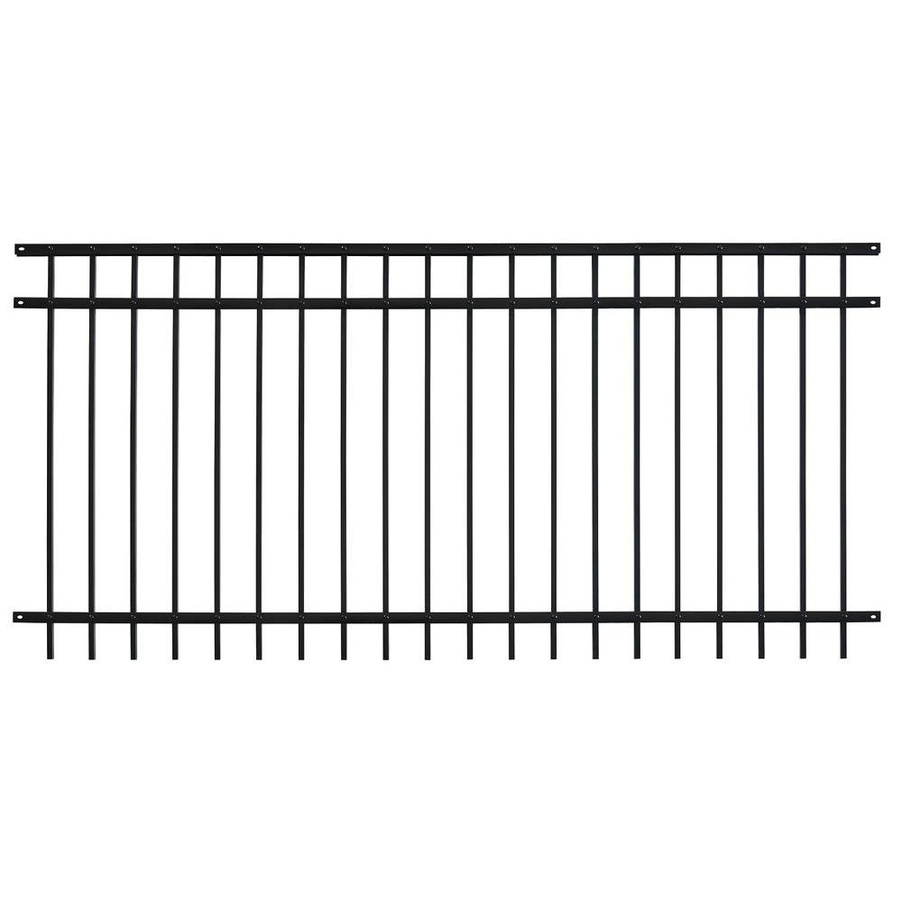 Fence Panel 3-Rail Pro Series Adjustable Galvanized Steel Fencing in Black