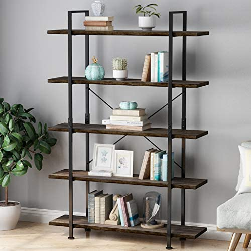 LANGRIA 5 Tier Industrial Bookshelf