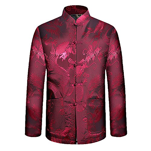 KIKIGOAL Mens The elderly Chinese-style Cotton Thick Jacket Festive Tang Suit (190, red) by KIKIGOAL (Image #1)