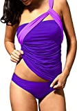 Dellytop Womens Push Up Tankini Bathing Suits with Panty Two Piece Swimsuit Set Beachwear W Purple Small