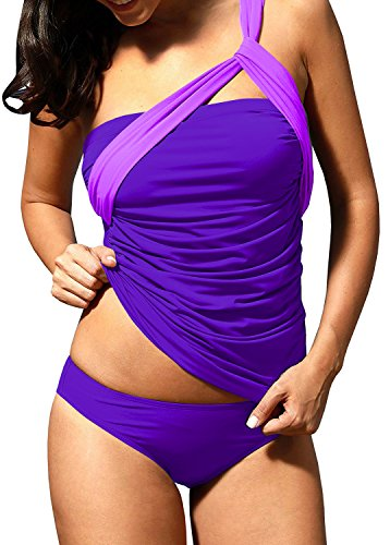 Underwire Detail (Nulibenna Womens One Shoulder Swimsuit Ruched Tummy Control Tankini Triangle Briefs)