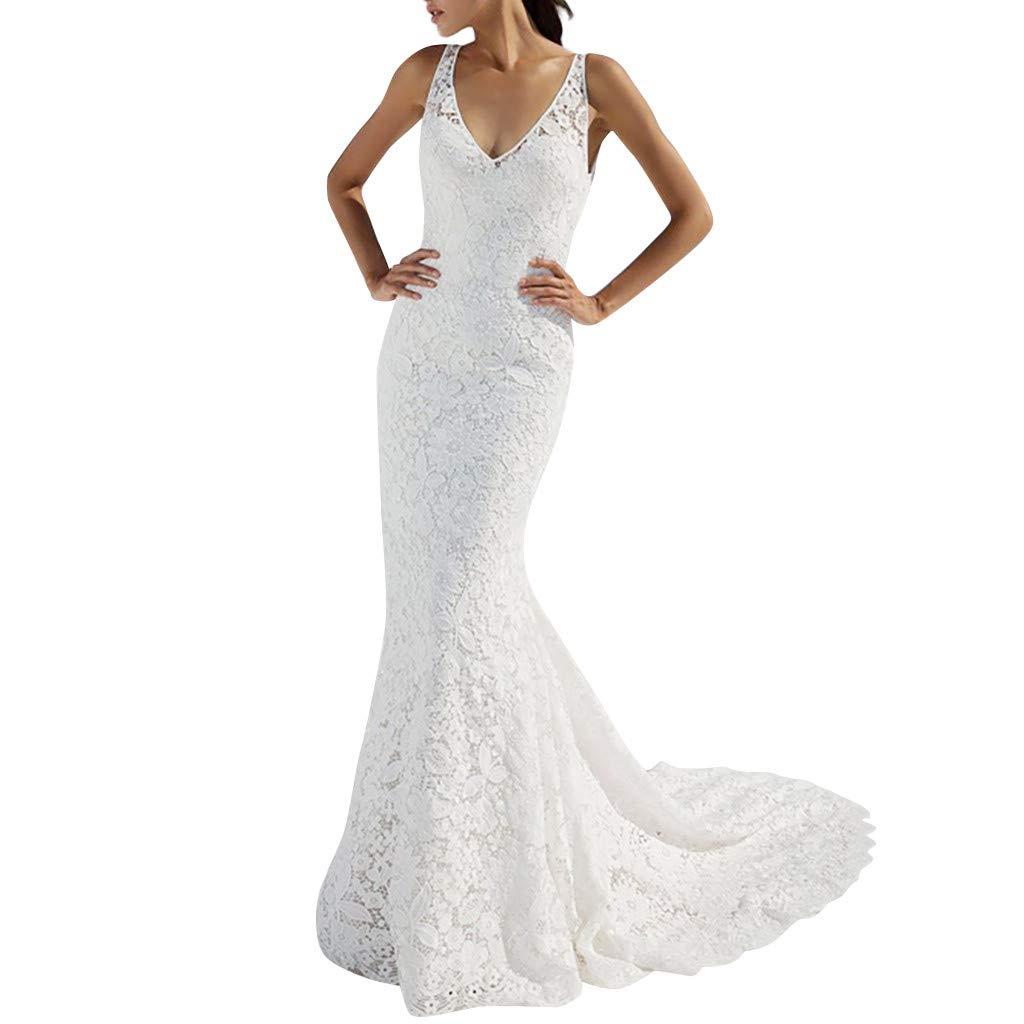 BNisBM Party Dresses for Women Brief Elegant Mermaid Evening Dress Deep V Neck Lace Backless Bridal Wedding Dress (White,XL) by BNisBM