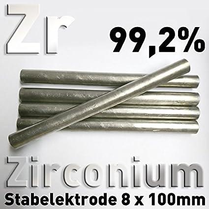 Varilla de circonio puro de ánodo ZR 99,2 redonda, 100 x 8 mm