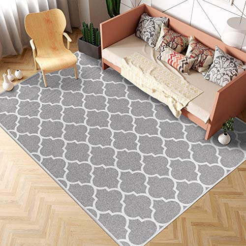 jinchan Moroccan Tile Low Pile Trellis Area Rug Soft Thickness Carpet Floorcover Indoor Mat Charcoal Soft Grey 6 7 x 9