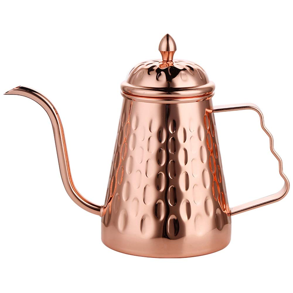 Stainless Steel Coffee Drip Kettle,Hand Rushing Coffee,Design Kettle for Manual Pour Over Coffee (Color : Rose Gold, Size : 650ML)